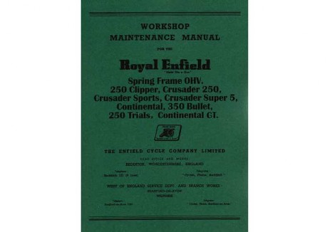 Manual for Royal Enfield Crusader, Crusader Sports, Clipper, Continental GT