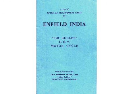 Royal Enfield Bullet Parts Book  early Indian 350cc