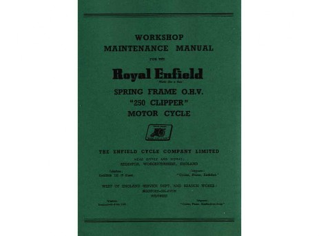 Royal Enfield Clipper Workshop Manual 1954 to 1956