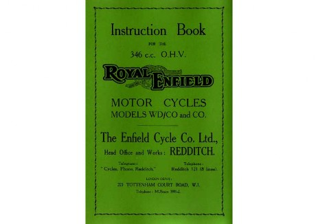 Royal Enfield Model CO 350cc handbook