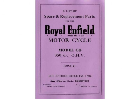 Royal Enfield Model CO Spare Parts Book