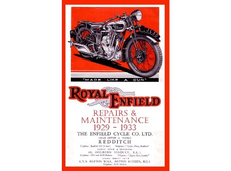 Workshop manual for Royal Enfield Model A, BO, C, F, L, H, G, LF, from 1929 to 1933
